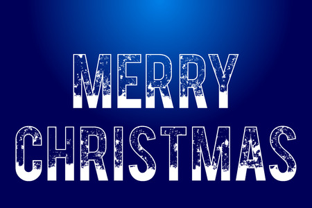 text Merry Christmas on blue background, isolated snowy outlined text, vector holiday illustration