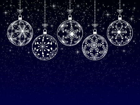 christmas or new year or winter background with blank place for your text on dark background, christmas balls silhouette with snowflake texture on night stars snowy sky, holiday vector illustration