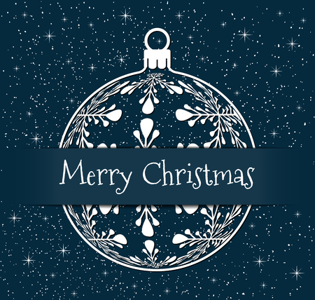 christmas greeting card, white silhouette of christmas ball with text Merry Christmas on snowy blue background, holiday illustration Illustration