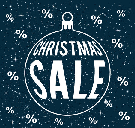 christmas sale vector on snowy dark blue background with percentage signs, with christmas ball silhouette, sale poster