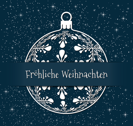 german christmas greeting card, white silhouette of christmas ball with text Frohliche Weihnachten on snowy blue background, germany holiday illustration