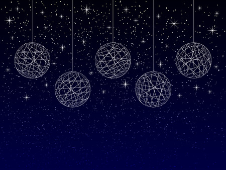 christmas or new year or winter background with blank place for your text on dark background, abstract christmas balls with texture on night sky with snowflakes and stars, holiday vector illustration Illustration
