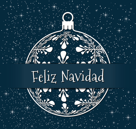 spanish christmas greeting card, white silhouette of christmas ball with text on snowy blue background, spain holiday illustration