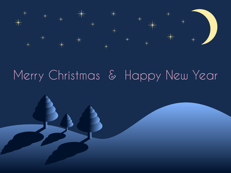 christmas and new year greeting card, moon and stars on night sky with hill and trees on dark blue background, vector winter holiday background with wishing text