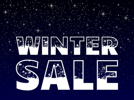 winter sale poster concept, snowy text on snowy blue background, vector illustration