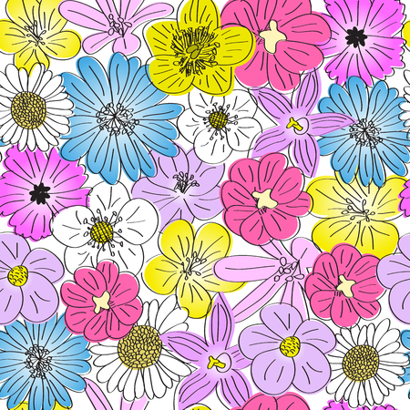 seamless meadow flowers pattern, hand drawn bloom flowers texture, isolated on white background Illustration