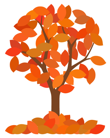 Isolated autumn tree with fallen leaves on white background, vector illustration.