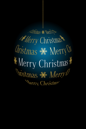 abstract Christmas ball created from text Merry Christmas on dark background, vector holiday illustration.