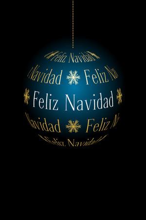 Spanish abstract Christmas ball created from text Feliz Navidad on dark background, vector holiday illustration. Illustration