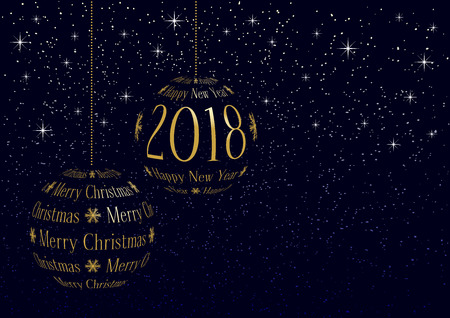 Christmas and new year 2018 greeting card with space for your text on snowy sky background.