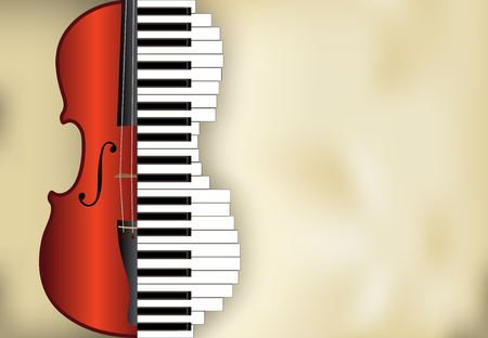 abstract music background from violin and piano keys with place for text, vector illustration
