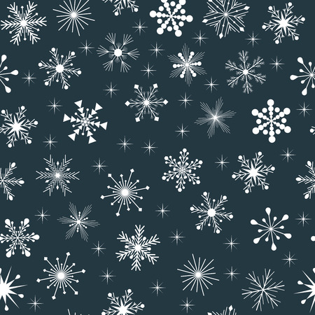 White snowflakes with stars on blue background, horizontally and vertically seamless pattern vector background
