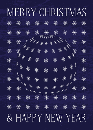 Greeting card for christmas and new year holiday, white snowflakes and christmas ball with snowflakes on blue textured background, vector holiday background