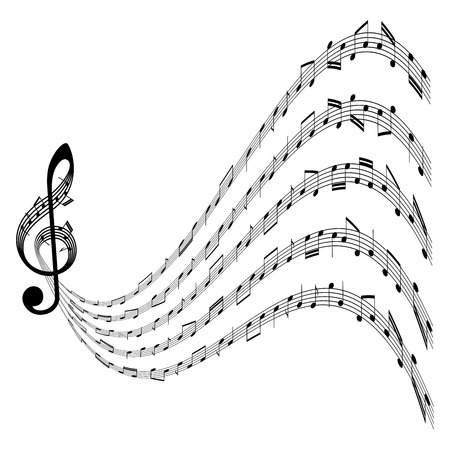 Music background with clef and notes on white background Illustration