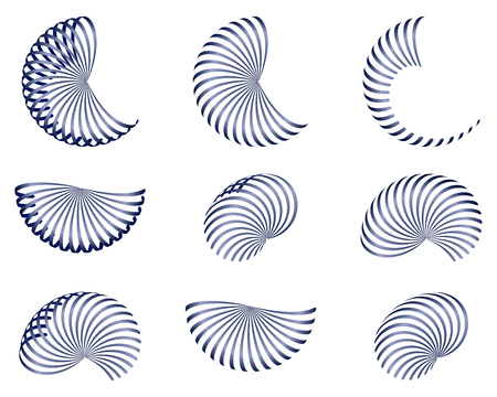 A set of abstract  design elements, vector blue 3d stripes, isolated illustration