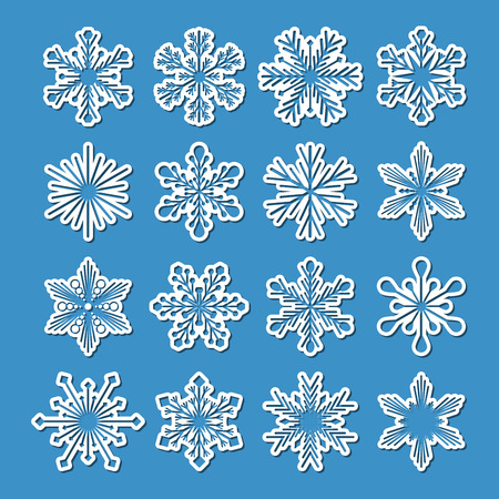 collection of 16 vector white snowflakes with simple shadow on blue background, isolated illustration Illustration