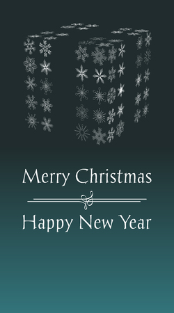 Christmas greeting card with text Merry Christmas and Happy New year, vertical holiday illustration with green background and with abstract gift from snowflakes.