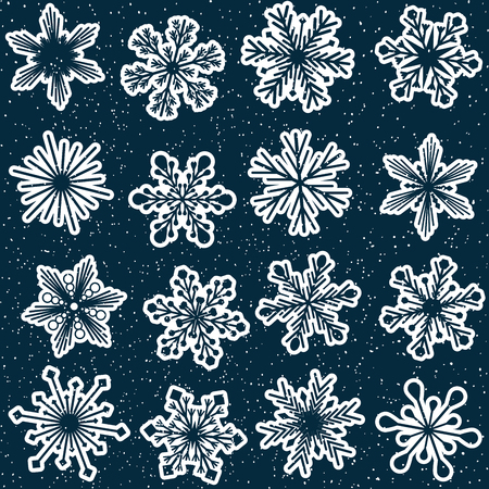 seamless snowflakes pattern repeated horizontally and vertically, vector with starry blue sky, suitable for christmas or winter holidays Illustration