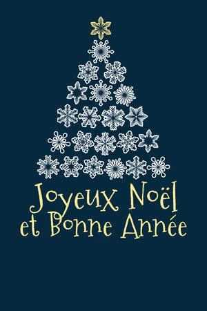 vector christmas tree created from snowflakes with french text Merry Christmas and Happy New Year.