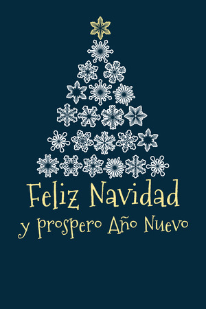 vector christmas tree created from snowflakes with spanish text Merry Christmas and Happy New Year. Illustration