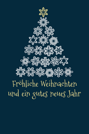 vector christmas tree created from snowflakes with german text Merry Christmas and Happy New Year.