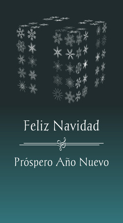 spanish Christmas greeting card with text Merry Christmas and Happy New year, vertical spain holiday illustration with green background and with abstract gift from snowflakes Illustration