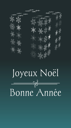 french Christmas greeting card with text Merry Christmas and Happy New year, vertical France holiday illustration with green background and with abstract gift from snowflakes