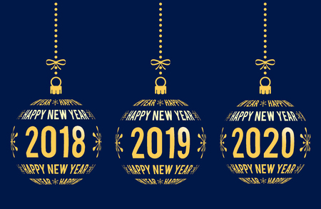 Happy New Year graphic elements for years 2018, 2019, 2020. Christmas balls with text Happy New Year and years. Hanging isolated golden abstract balls created from text on blue background.