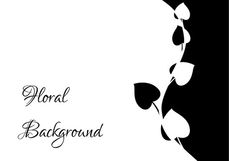black and white floral frame with place for your text, monochromatic vector, isolated flower illustration