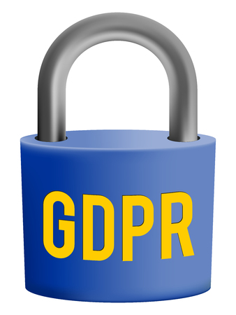 Padlock with text GDPR, isolated on white background, General Data Protection Regulation sign.
