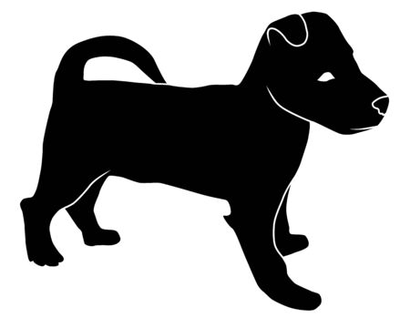 Vector silhouette of cute puppy. isolated dog on white