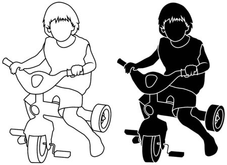 vector silhouette of sitting child on a bike Ilustrace