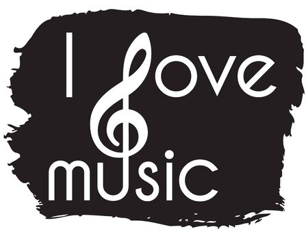 white text - I love music - with clef on black frame, brush stroke Ilustrace