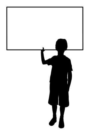 black silhouette of child with blank table for your text, isolated on white background