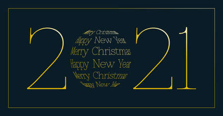 merry christmas and happy new year 2021 - dark greeting card Ilustrace