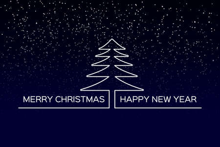 Merry Christmas and Happy New Year background with starry sky and with place for your text