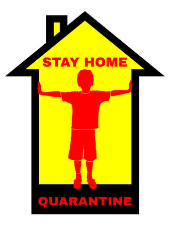quarantine symbol with house silhouette and text stay home