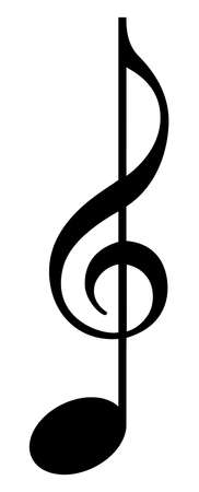 musical symbol created from clef and note, isolated illustration, music design element, black and white vector Vectores