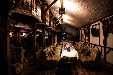 garden of eden: Moscow, Russia - October 2, 2015: the restaurant Garden of Eden. Interior with a laid table before the wedding banquet.