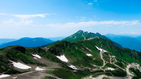 spaciousness: Summer view in the mountains at an altitude of about 2 km above sea. Stock Photo