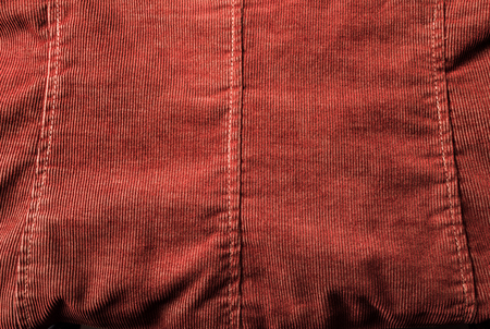 corduroy: Detail of double-breasted corduroy jacket with brass buttons and decorative stitching.