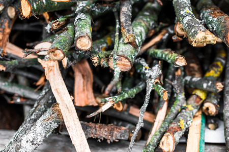 stack of firewood: Textural image. Closeup of old gray firewood stack. Stock Photo