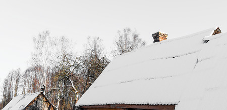 non urban: Country cottage roofs on tree background in winter day.