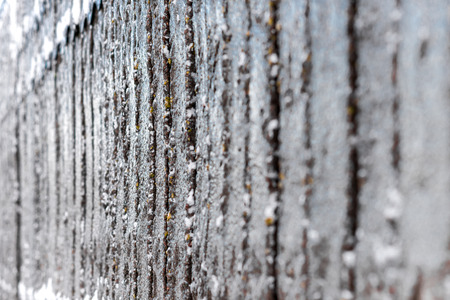 heap of snow: Textural image. Closeup of concrete fence covered with lichen and snow.