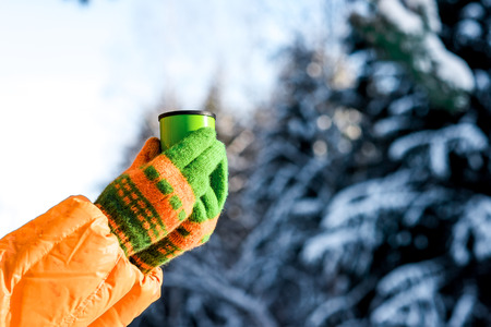 thermos: Brightly dressed woman is drinking from a thermos on the edge of a winter forest. Stock Photo