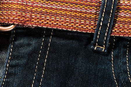 textile image: Textural image. Fragment of blue jeans with textile belt.