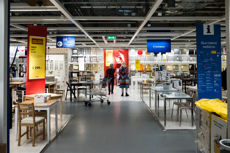 dacha: Moscow, Russia - February 1, 2016: Showroom of IKEA Belaya Dacha shopping mall.