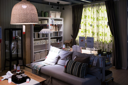 coziness: Moscow, Russia - February 1, 2016: Showroom of IKEA Belaya Dacha shopping mall.