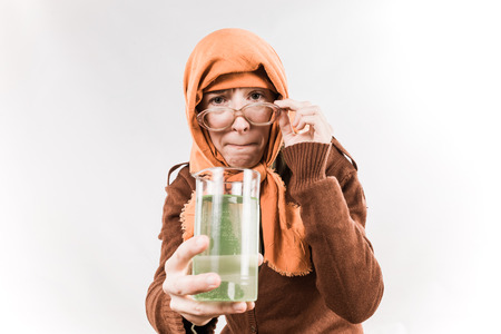 babushka: Grotesque grandmother character wearing big glasses and babushka on white background.