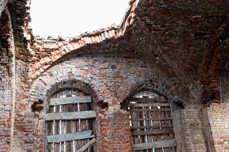 hinterland: Destroyed orthodox church of red brick in the Russian hinterland .
